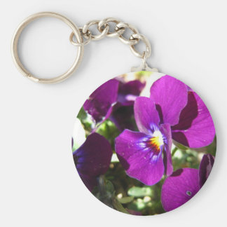 Purple and Yellow Pansy Flowers Basic Round Button Key Ring