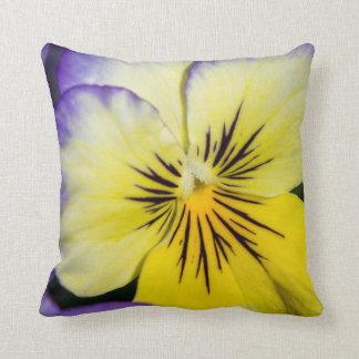 Purple and Yellow Pansy Throw Cushion