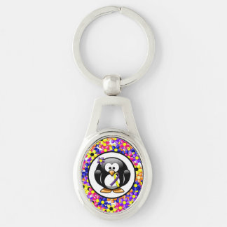 Purple and Yellow Ribbon Penguin Silver-Colored Oval Key Ring