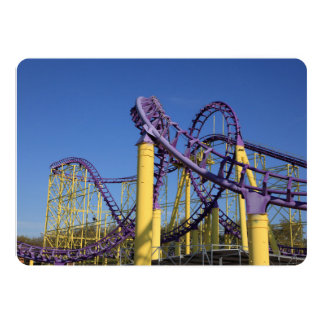 Purple and Yellow Roller Coaster Tracks Card