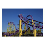 Purple and Yellow Roller Coaster Tracks Poster