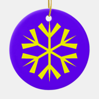 Purple and Yellow Snowflake Round Ceramic Decoration