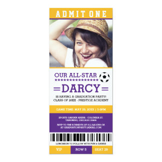 Purple and Yellow Soccer Graduation Party Invites