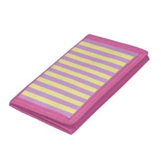 Purple and yellow striped pattern tri-fold wallet