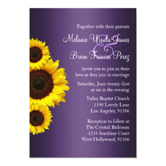 Purple and Yellow Sunflower Wedding Invitation