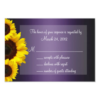 Purple and Yellow Sunflower Wedding RSVP 9 Cm X 13 Cm Invitation Card