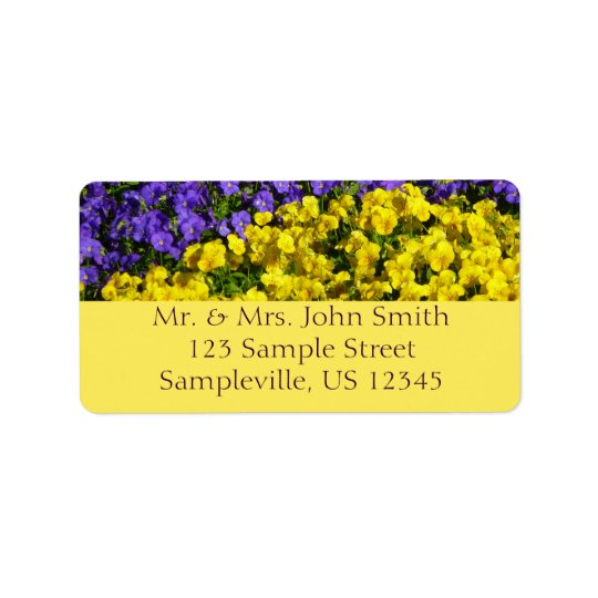 Purple and Yellow Violas Colourful Floral Address Label