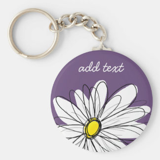Purple and Yellow Whimsical Daisy Custom Text Basic Round Button Key Ring
