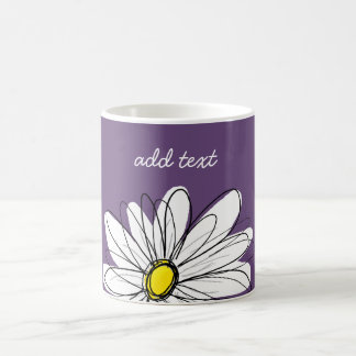 Purple and Yellow Whimsical Daisy Custom Text Coffee Mug