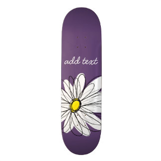 Purple and Yellow Whimsical Daisy Custom Text Custom Skate Board