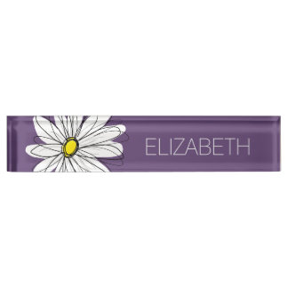 Purple and Yellow Whimsical Daisy Custom Text Desk Nameplates