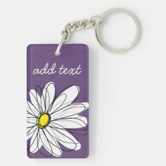 Purple and Yellow Whimsical Daisy Custom Text Double-Sided Rectangular Acrylic Key Ring
