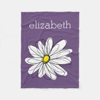 Purple and Yellow Whimsical Daisy Custom Text Fleece Blanket
