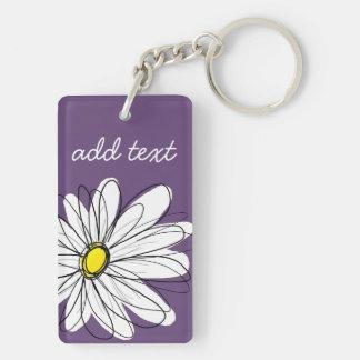 Purple and Yellow Whimsical Daisy Custom Text Key Ring