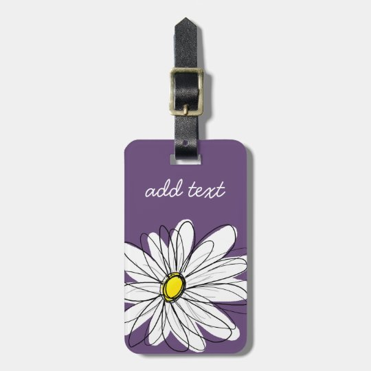 Purple and Yellow Whimsical Daisy Custom Text Luggage
