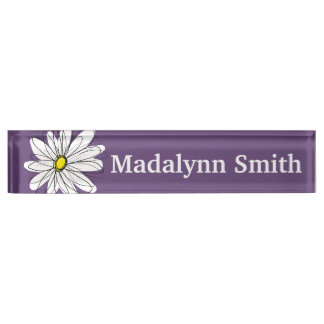 Purple and Yellow Whimsical Daisy Custom Text Name Plate