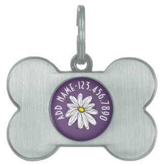 Purple and Yellow Whimsical Daisy Custom Text Pet Name Tag