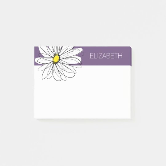 Purple and Yellow Whimsical Daisy Custom Text Post-it