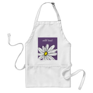 Purple and Yellow Whimsical Daisy Custom Text Standard Apron