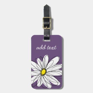 Purple and Yellow Whimsical Daisy Custom Text Travel Bag Tag