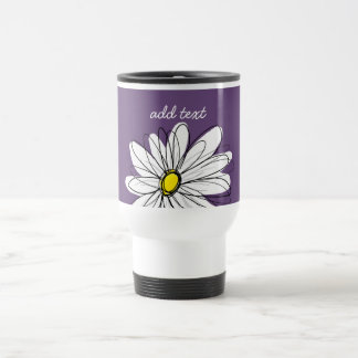 Purple and Yellow Whimsical Daisy Custom Text Travel Mug