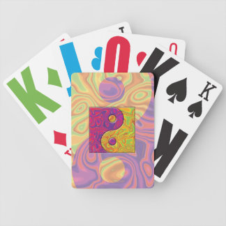 Purple and Yellow Yin Yang Symbol Bicycle Playing Cards