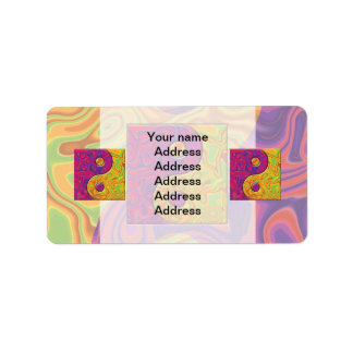 Purple and Yellow Yin Yang Symbol Label