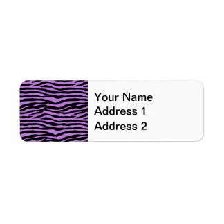 Purple and Zebra Stripes Return Address Label