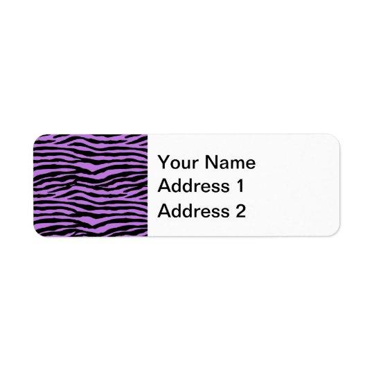 Purple and Zebra Stripes Return Address Label