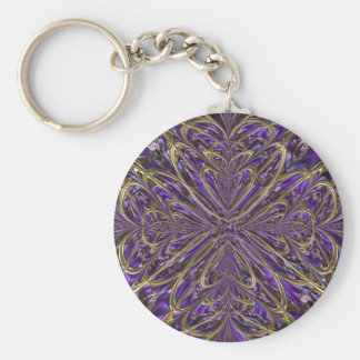 Purple Anemone Abstract Key Chain