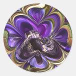 Purple Anemone Abstract Round Sticker