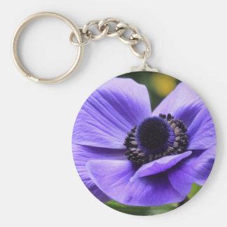 Purple Anemone Basic Round Button Key Ring