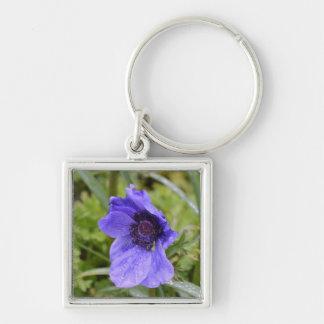 Purple Anemone Flower Keychains
