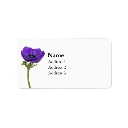 Purple Anemone Flower Label