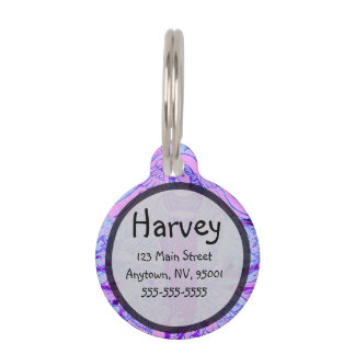 Purple angel pattern with flowers pet name tag