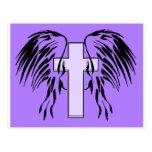 purple angel wings with cross postcard