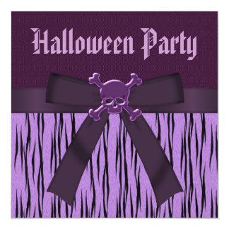 Purple Animal Print & Skulls Halloween Party 13 Cm X 13 Cm Square Invitation Card