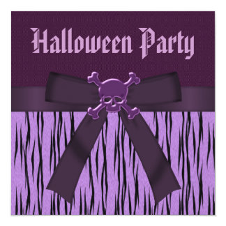Purple Animal Print & Skulls Halloween Party Card