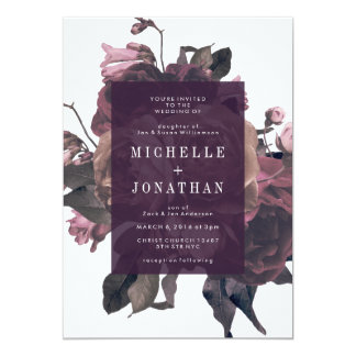 Purple Antique Roses Vintage Wedding Invitation
