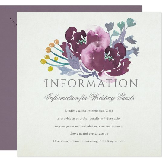 PURPLE, AQUA BLUE WATERCOLOUR FLORAL INFORMATION CARD