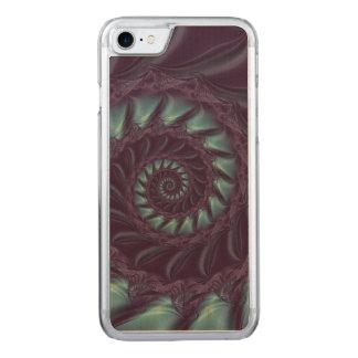 Purple & Aqua Spiral FractaiPhone 6 Slim Wood Carved iPhone 8/7 Case