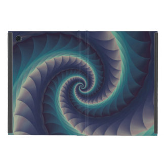 Purple & Aqua Spiral Fractal iPad Mini Case
