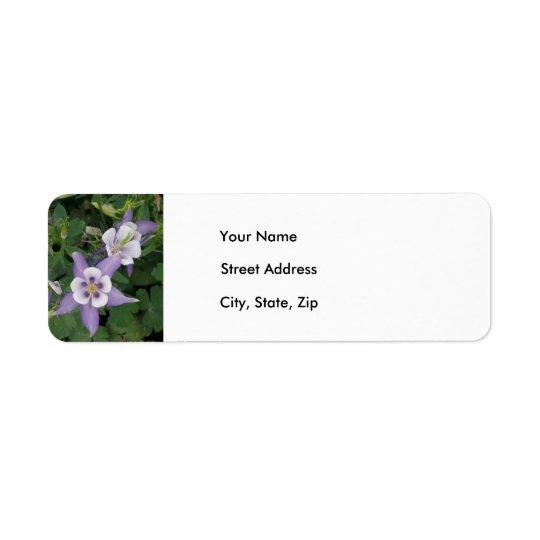 Purple Aquilegia, Columbine Address Label