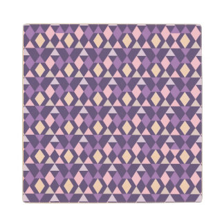 Purple Arabic Geometric Pattern Wood Coaster