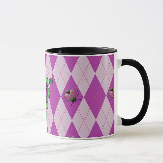 Purple Argyle Ladybug Mug