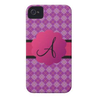 Purple argyle monogram iPhone 4 cases
