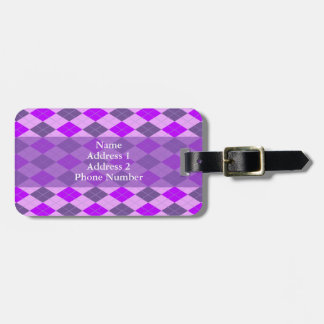 Purple Argyle Pattern Bag Tag