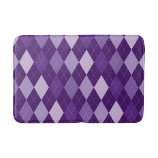 Purple argyle pattern bath mat