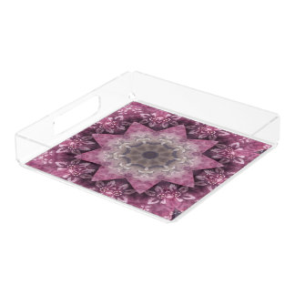 Purple Art Abstract Star Acrylic Serving Tray