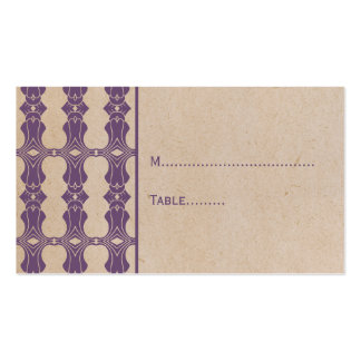Purple Art Deco Border Place Card Double-Sided Standard Business Cards (Pack Of 100)